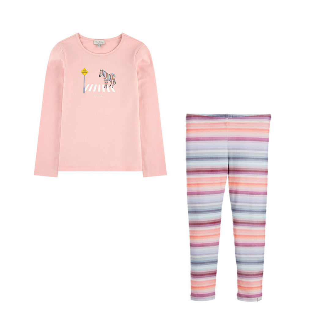 Girls Zebra T-shirt & Striped Leggings Set