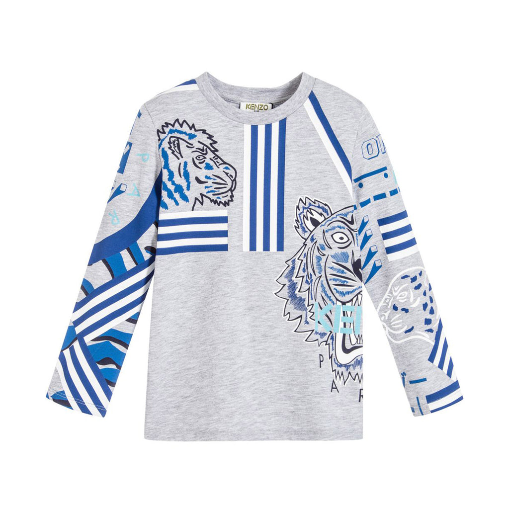 Boys Gray 'Tiger' Print Long Sleeve T-shirt