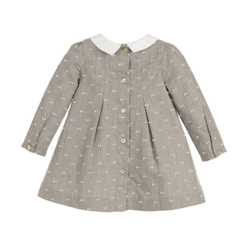 Baby Gray Long Sleeve Pleated Collared Dress