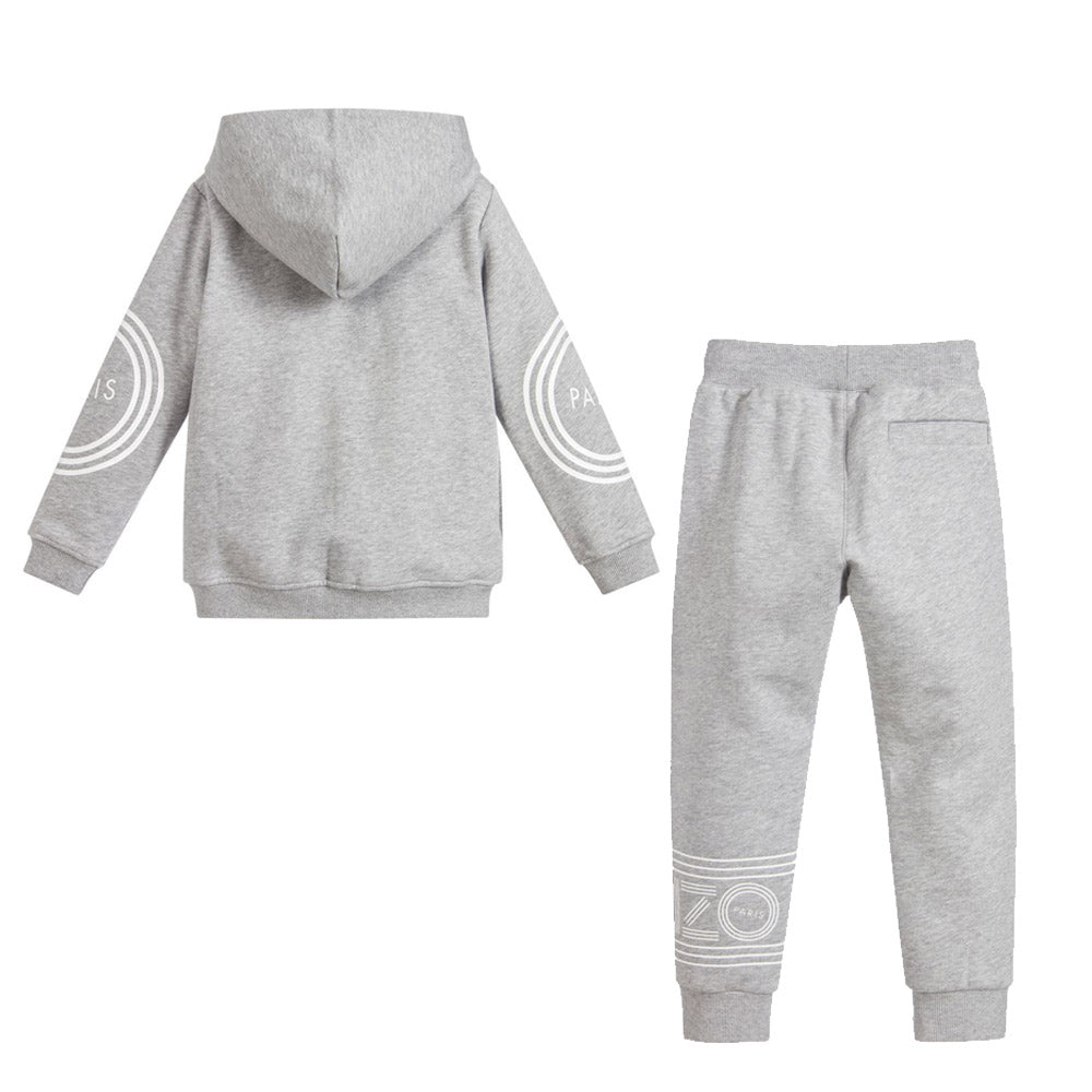 Gray Logo Zip-Up Jacket & Pants Set