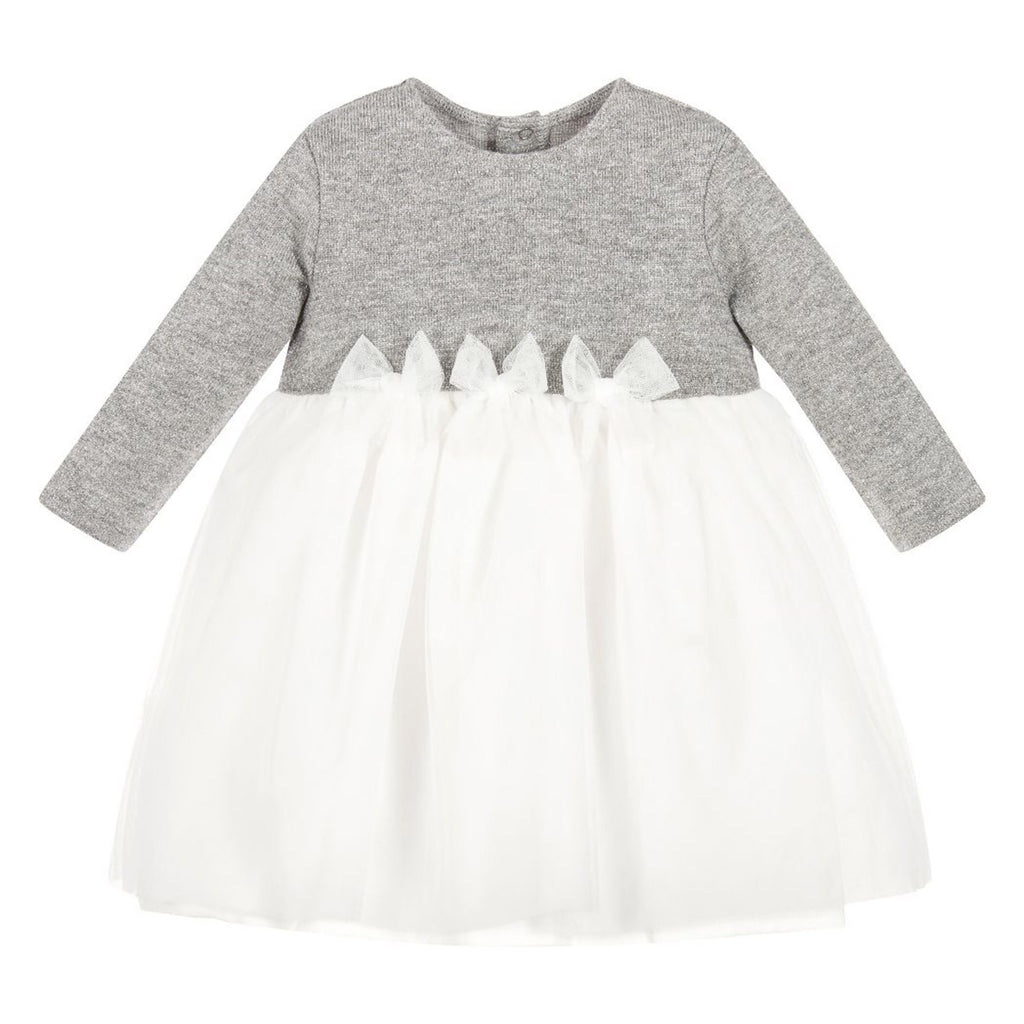 Baby Silver Tulle Dress with Bows