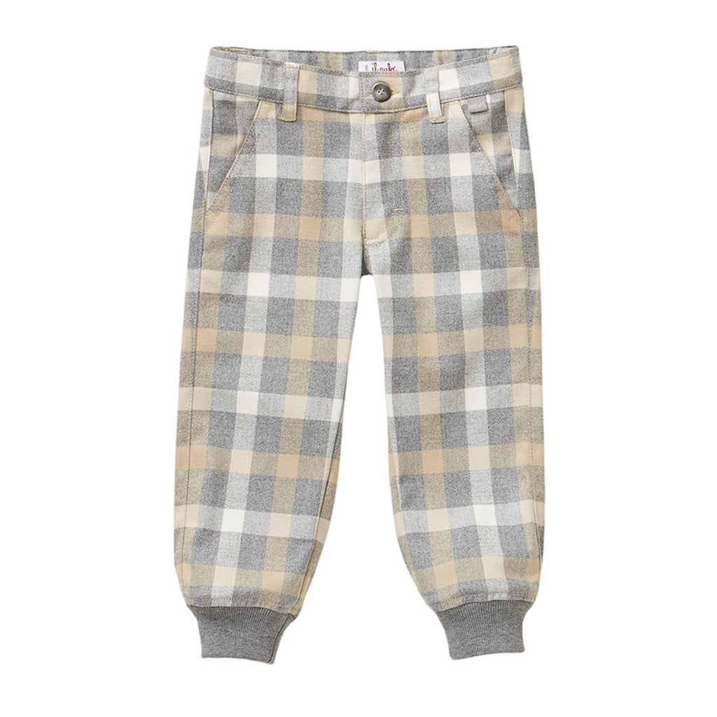Boys Beige Plaid Pants