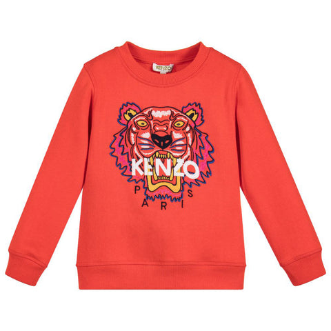 Gray Embroidered Pink 'Tiger' Sweatshirt