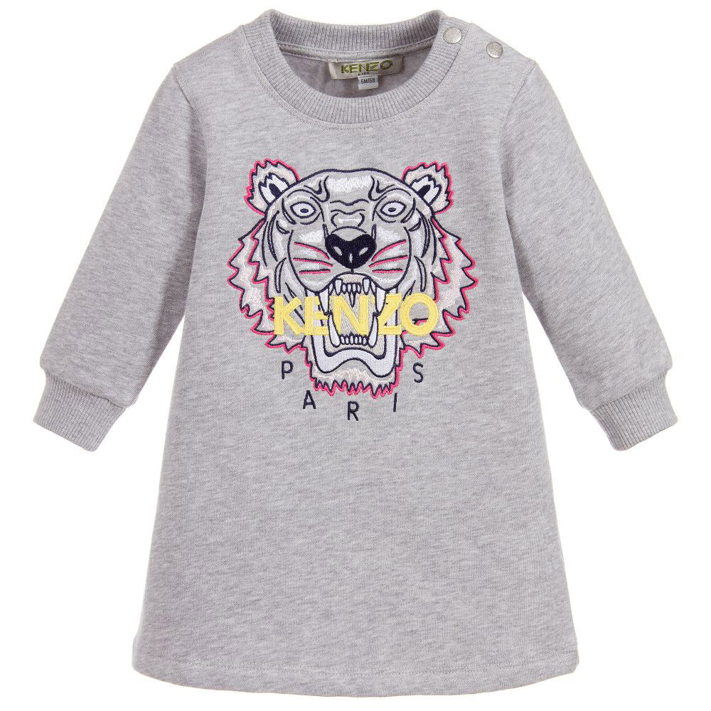 Baby Girls Embroidered Tiger Sweat Dress