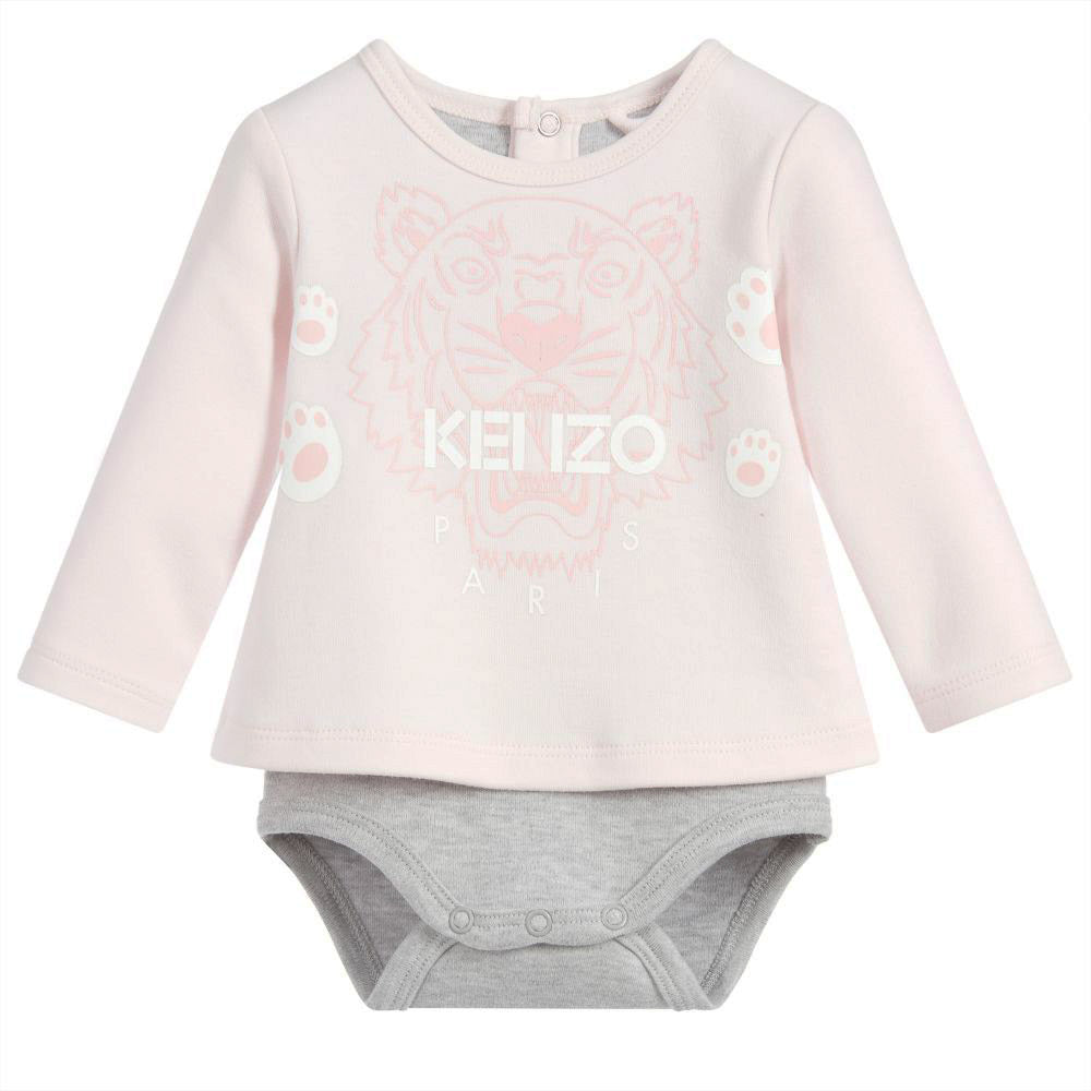 Baby Pink Tiger Print Long Sleeve Onesie