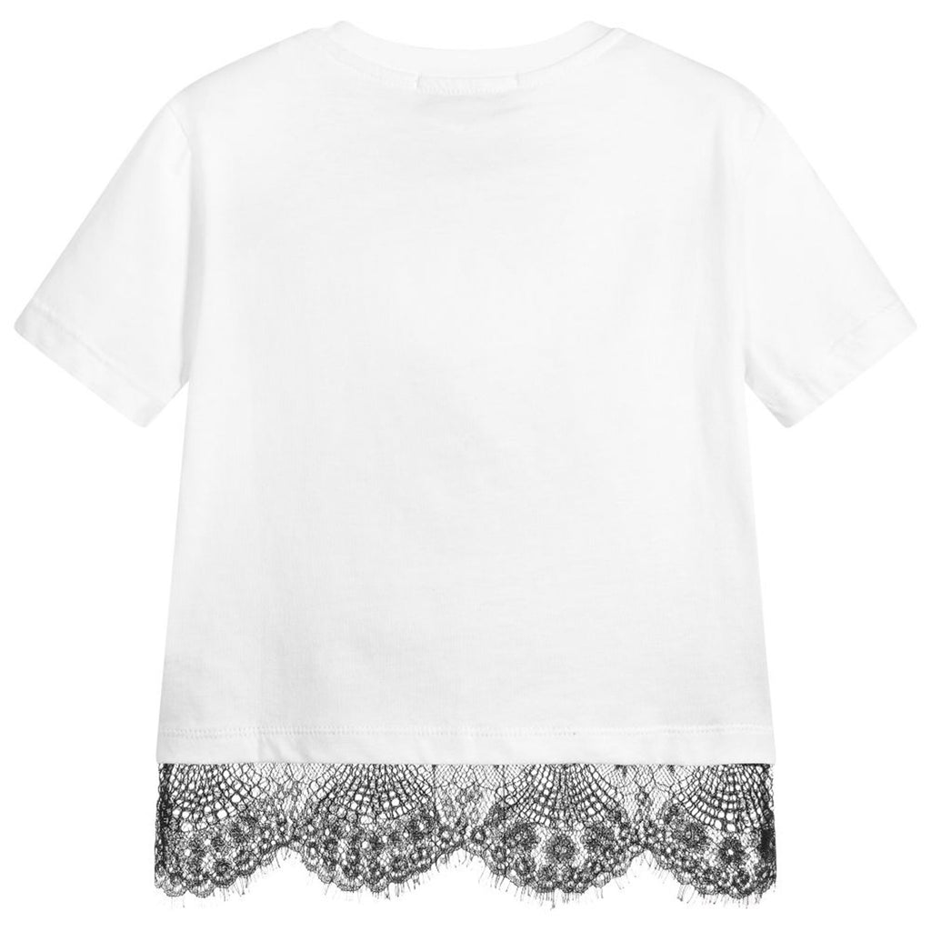 White 'Logo' T-Shirt With Lace Hem
