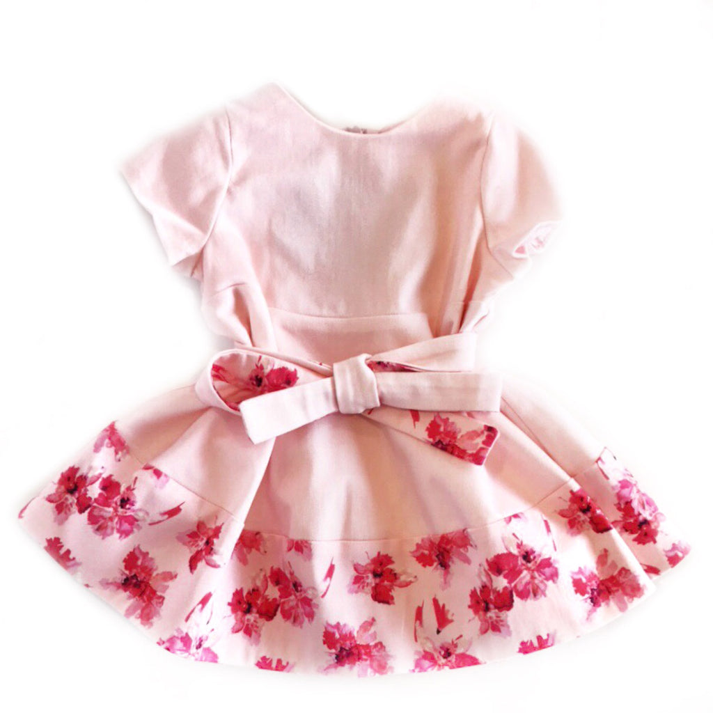 Baby Pink Floral Dress with Front Ties