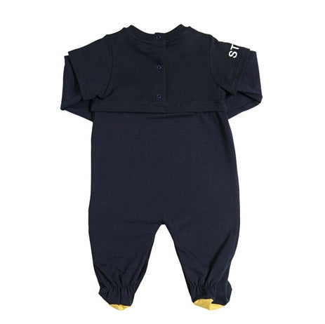 Baby Navy Long Sleeve 'Monster Eyes' Footie