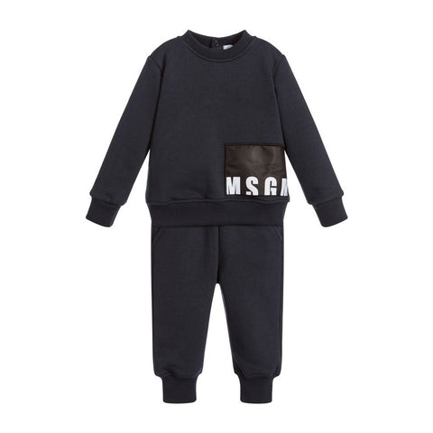 Baby Gray 'Logo' Sweatshirt & Pants Set