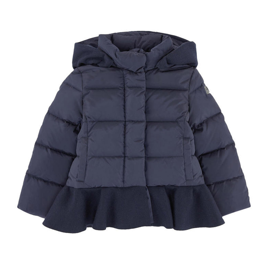 b644eb2ee Girls Navy Puffer Coat with Ruffle Hem – Occasion Kids