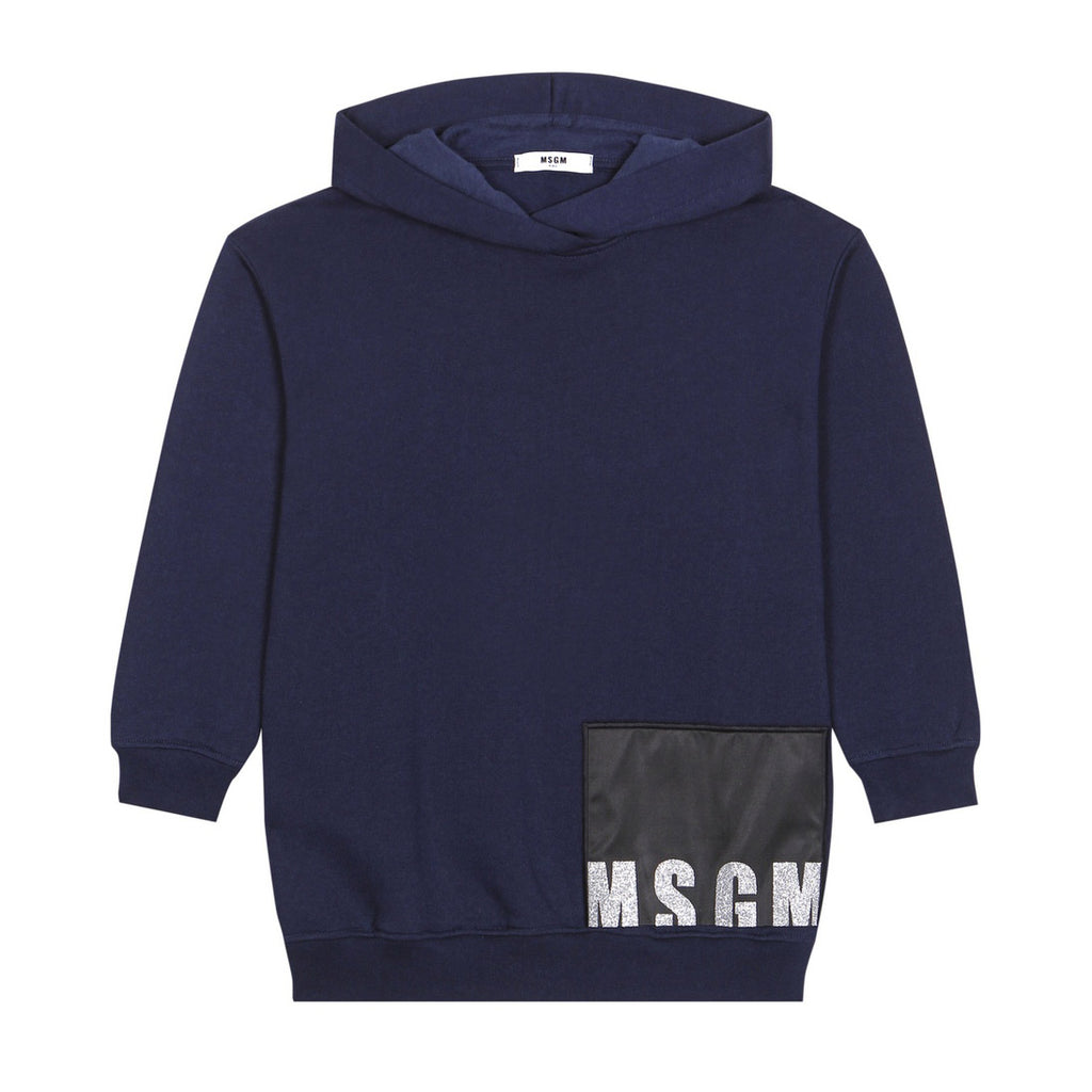 Girls Navy Hooded Sweat Dress with Glitter Logo
