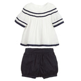 Baby Navy & White Blouse & Shorts Set