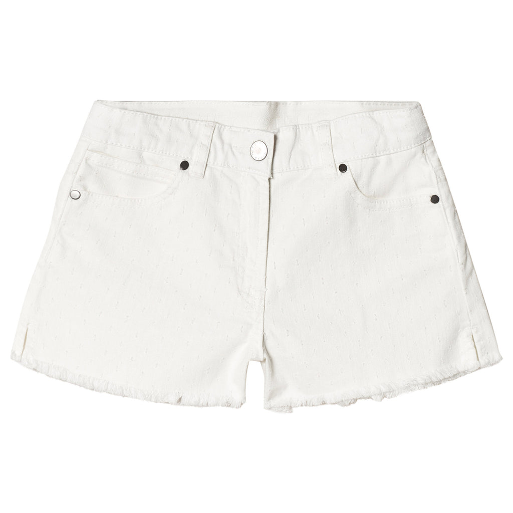 Girls White 'Hula' Textured Denim Shorts