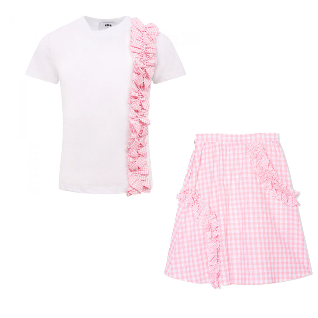 Pink Gingham Ruffle T-Shirt & Skirt Set