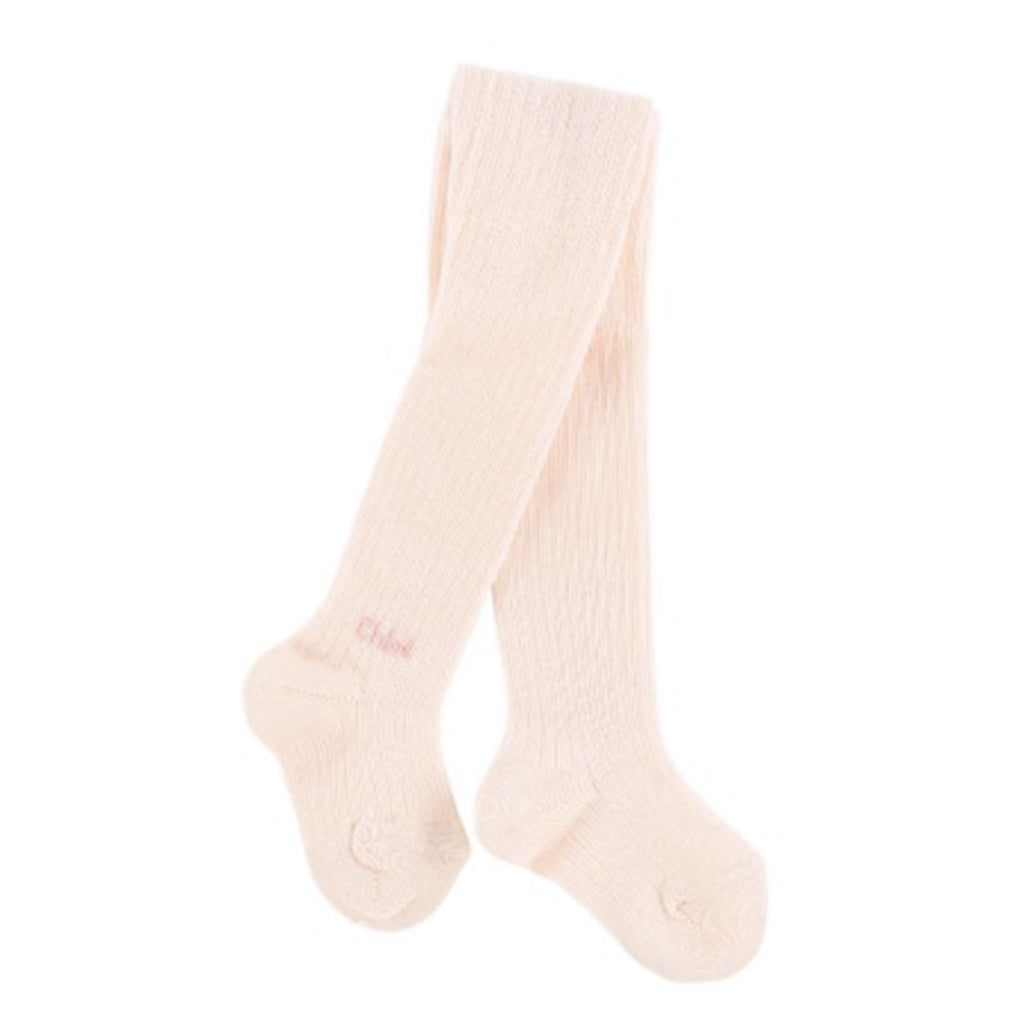 Baby Girls Pink Ribbed Knit Tights