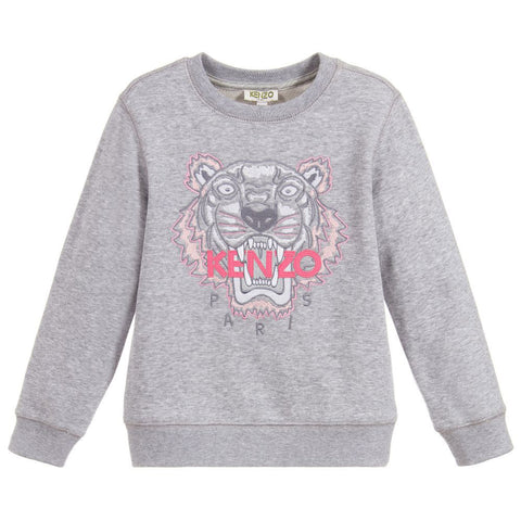 Gray Knit Logo Patch Sweater
