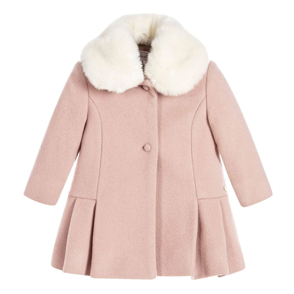 cf53213e2 Pink Wool Coat with Faux Fur Collar – Occasion Kids
