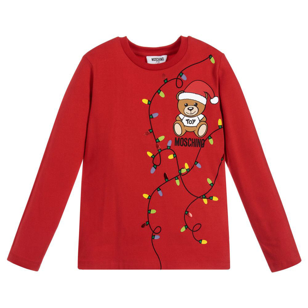 Red Long Sleeve Holiday Bear T-Shirt