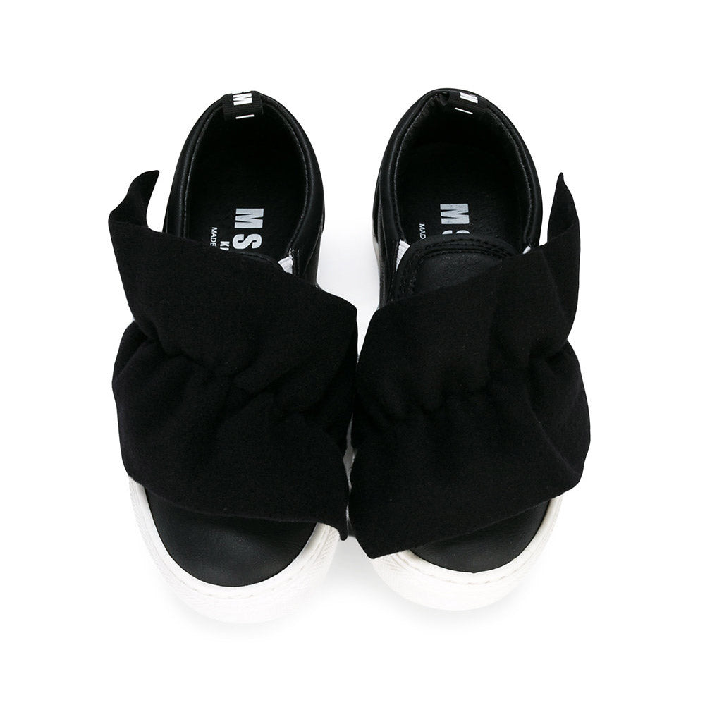 Black Ruffle Slip-On Sneakers