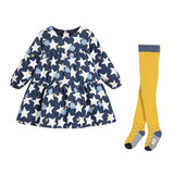 Baby Corduroy Star Print Dress with Knit Tights Set