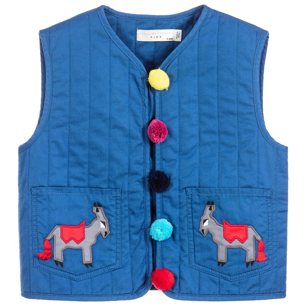Baby Girl 'Twister' Donkey Embroidered Pom Pom Vest