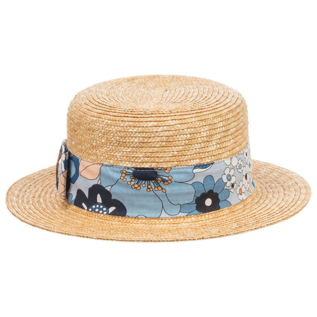 Girls Straw Hat with Floral Print