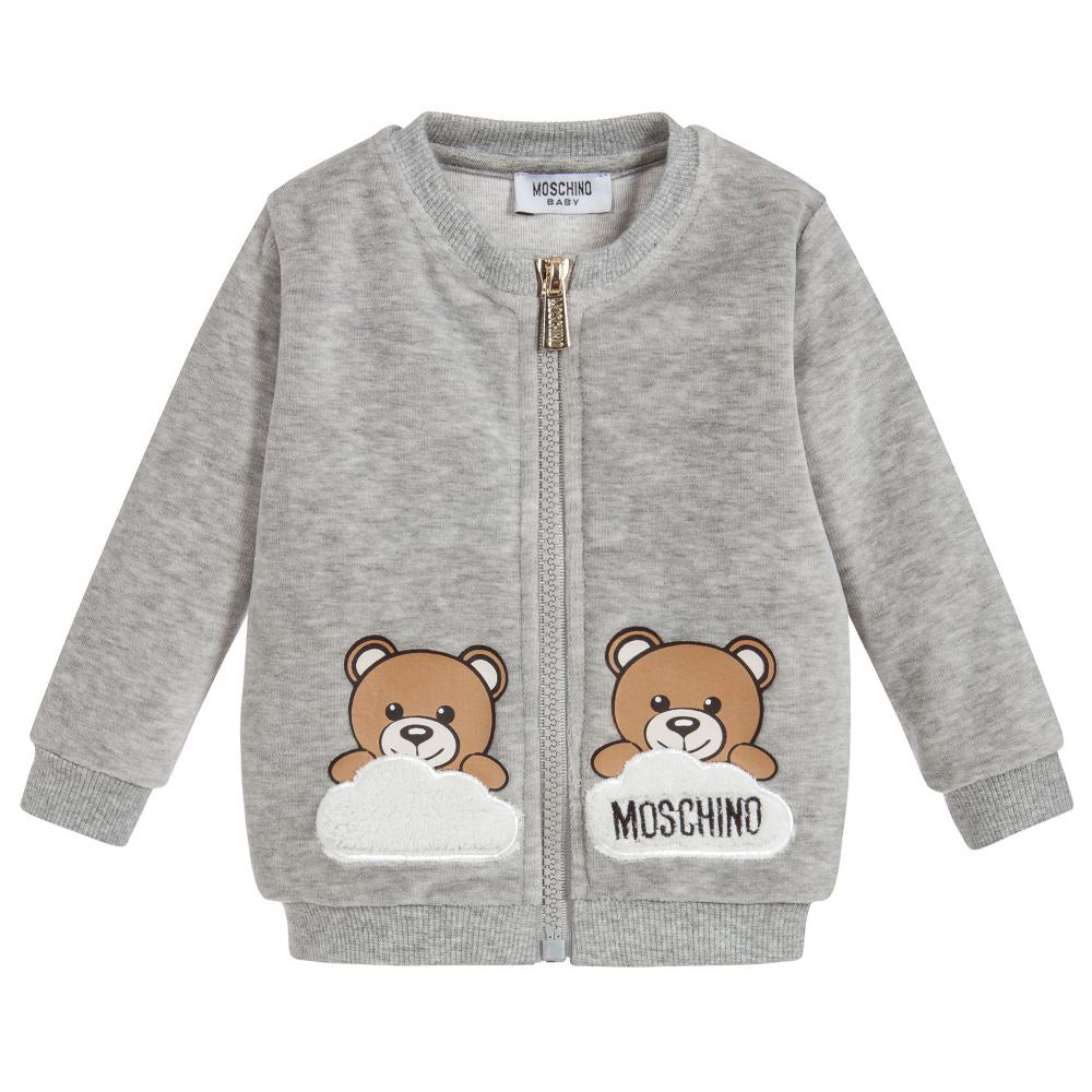5b633e492e30 Gray Velour Zip-up with Cloud & Bears – Occasion Kids
