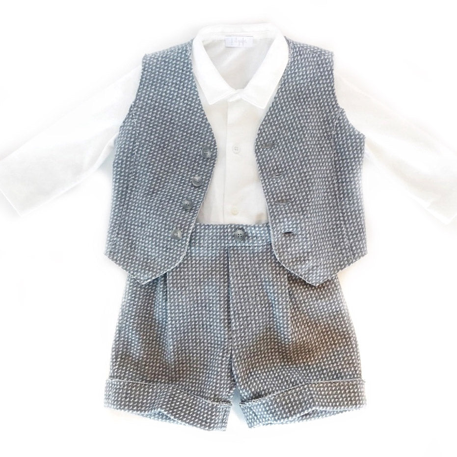 Baby Boys 3 Piece Bodysuit, Vest, & Shorts Set