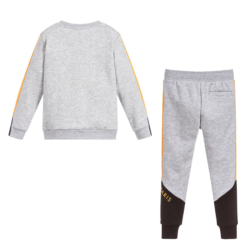 Gray Yellow & Black Contrast Logo Sweatshirt & Pants Set
