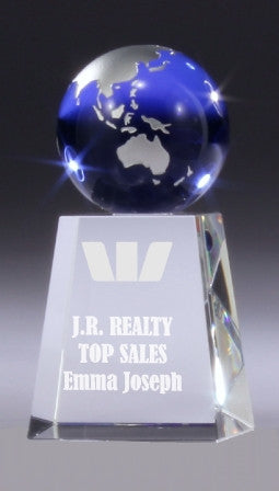 World globe crystal trophy
