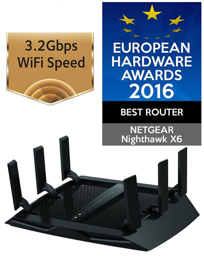 Picture of Netgear Mullvad  VPN Router & Awards text 3.2Gbps