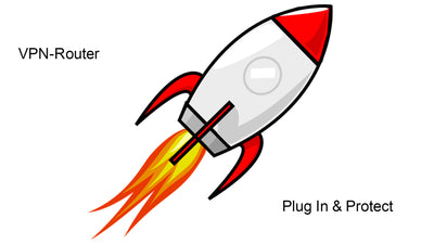 VPN Router Plug In & Protect Logo -Rocket