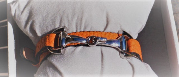 Dimacci Ingrid Klimke Bracelet Calf Leather Orange & Stainless Steel Bit