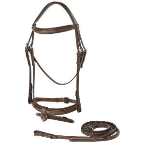 Bridle J&L Snaffle Bridle With Removable Flash Noseband & Laced Reins Full