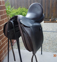 "SOLD.........17"" Frank Baines Omni Dressage Saddle Brown Wide"