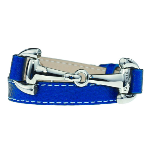 Dimacci Alba Calf Leather Bracelet Marine with Stainless Steel Bit