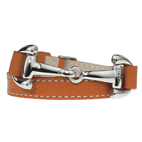 Dimacci Alba Calf Leather Bracelet Orange with Stainless Steel Bit