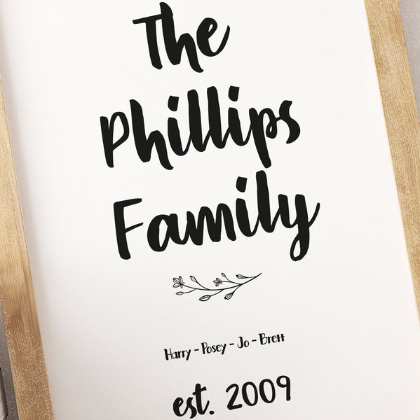 PERSONALISED FAMILY NAME PRINT