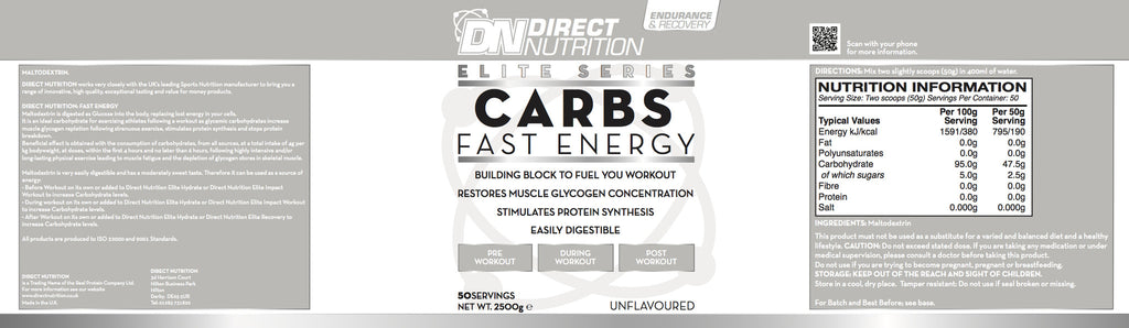 Elite Carbs Label