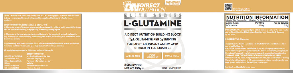Elite L-Glutamine Label