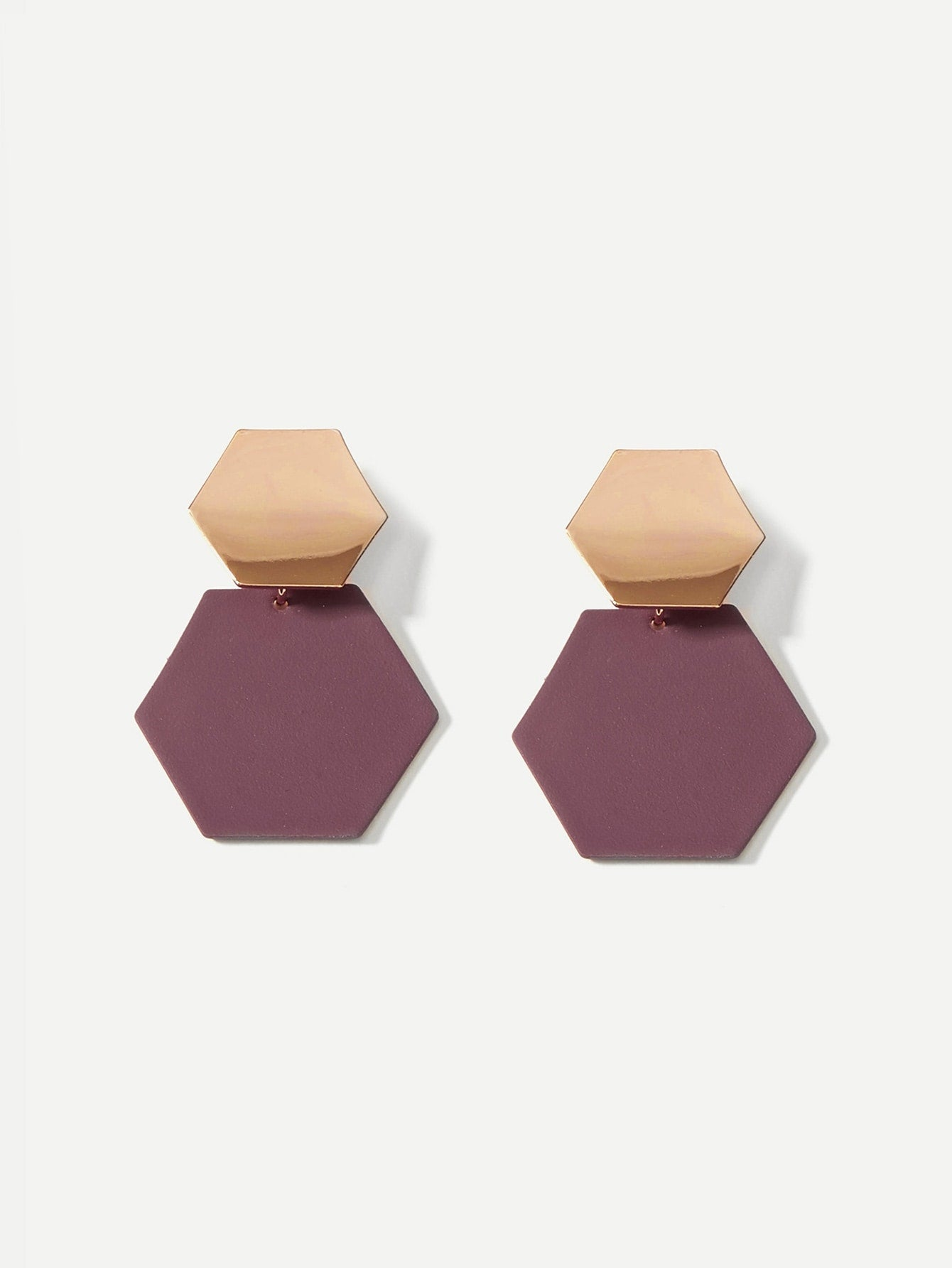 Two Tone Geometric Shaped Drop Earrings