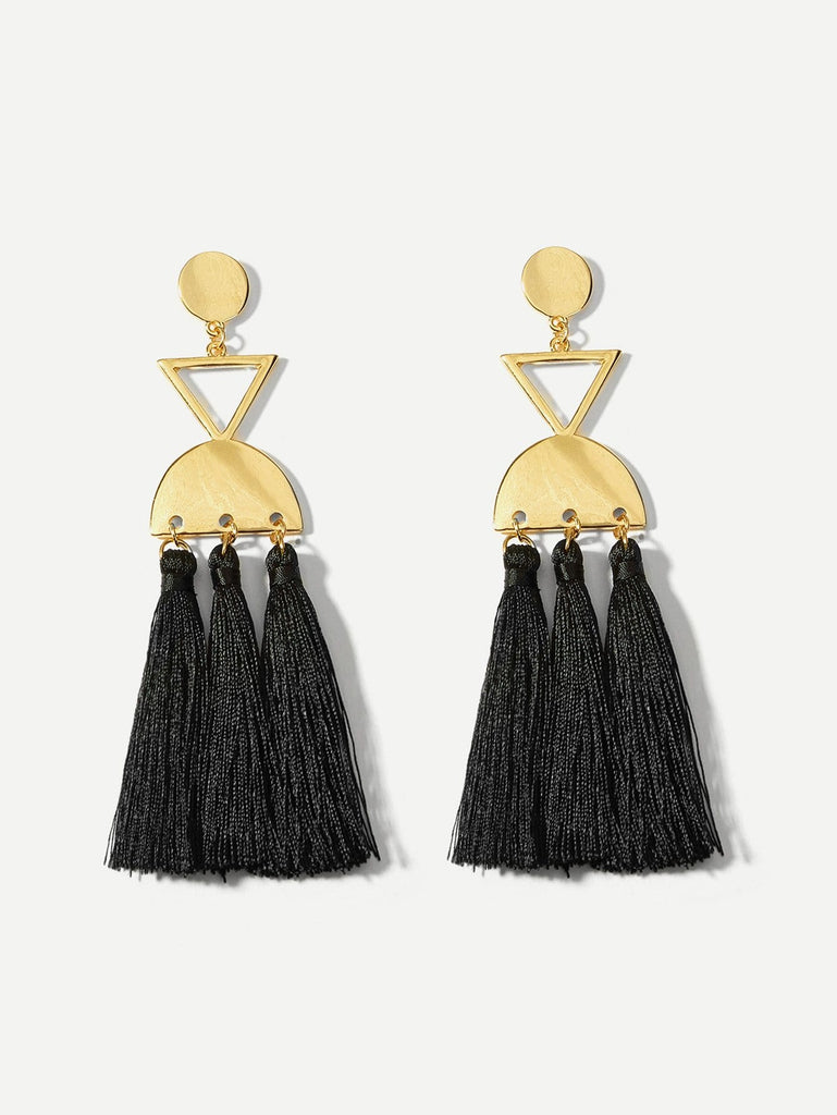 Triangle & Half Round Tassel Drop Earrings