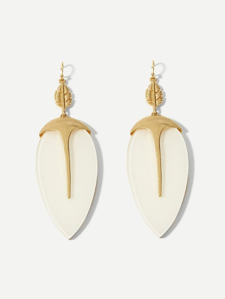 Leaf Shaped Drop Earrings