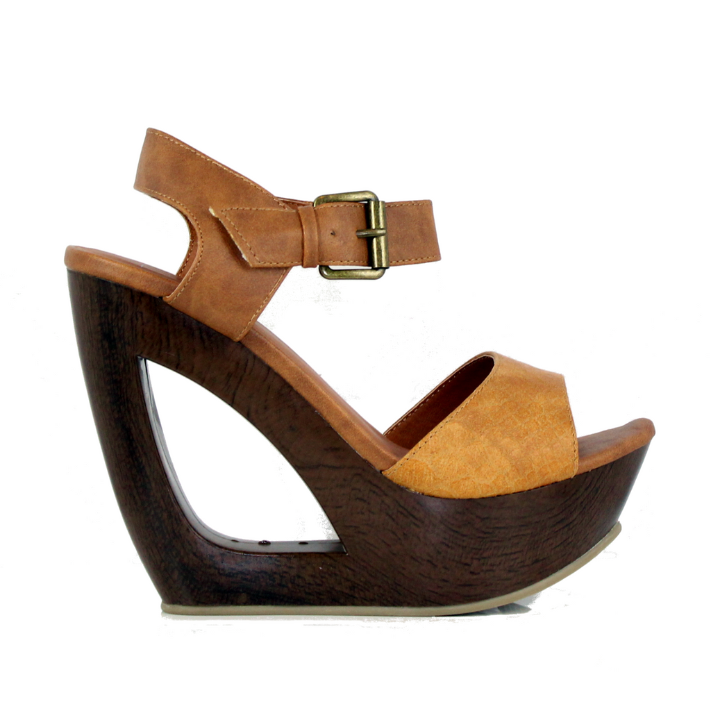 Cali - Tan Crocodile, Wedge, Tranché Boutique, Tranché Boutique