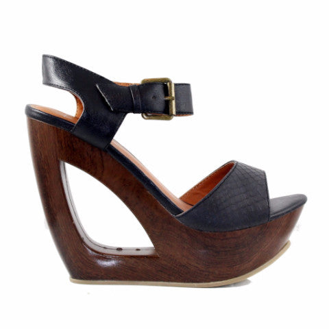 Cali - Black Crocodile, Wedge, Tranché Boutique, Tranché Boutique