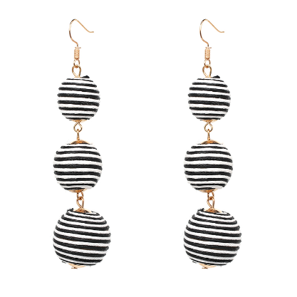 Gracie Earrings - Black/White Stripe