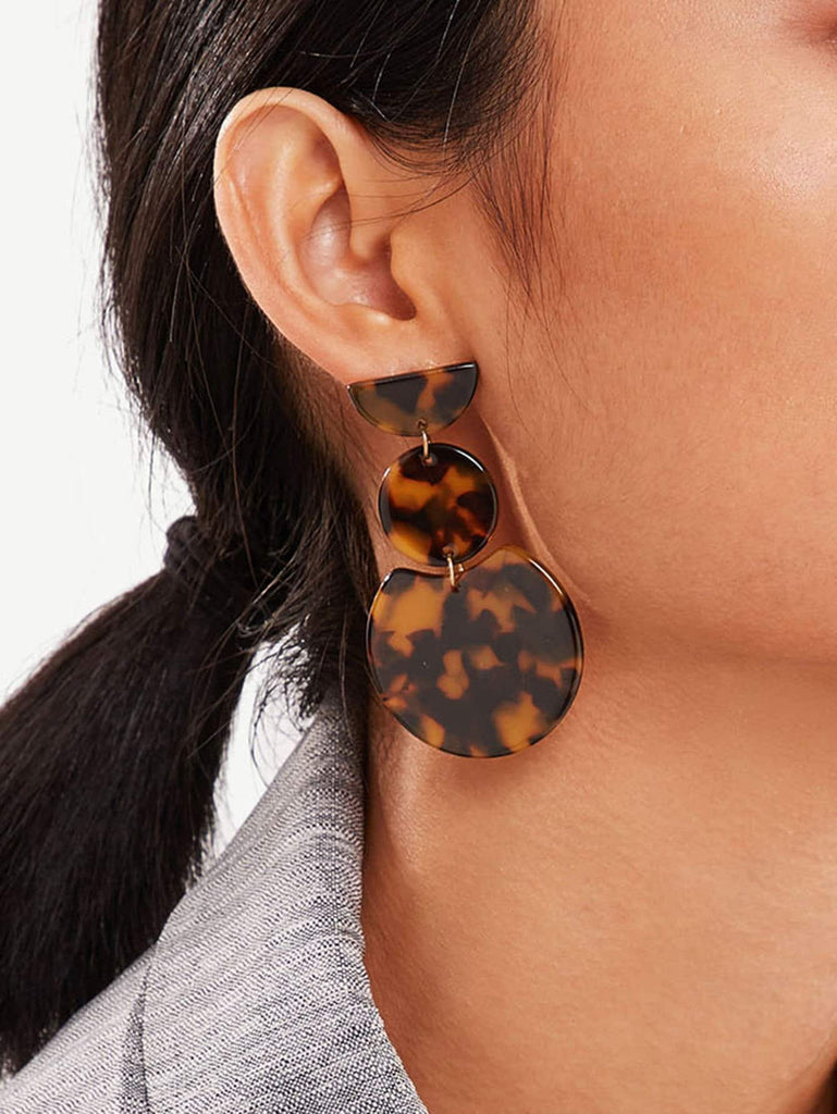 Leopard Pattern Double Round Drop Earrings