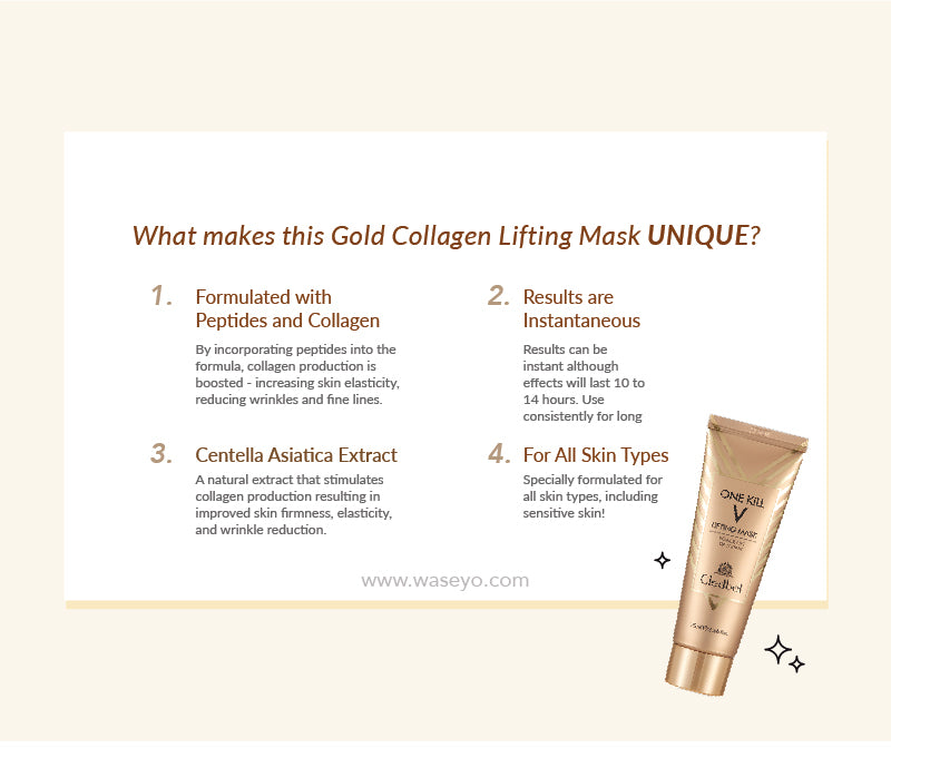 Gold Collagen Lifting Mask is formulated with collagen, peptides and centella asiatica extract. Collagen production is boosted, helping to increase skin elasticity, reducing wrinkles and fine lines. Specially formulated for all skin types, including sensitive skin