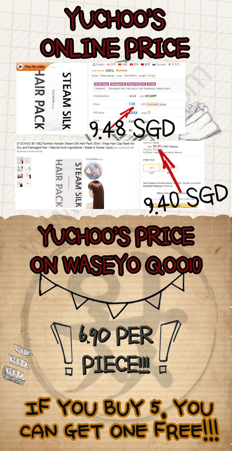 What a bargain! Our Yuchoo Hair Pack is only selling for $6.90! You can even get one for free if you buy five!