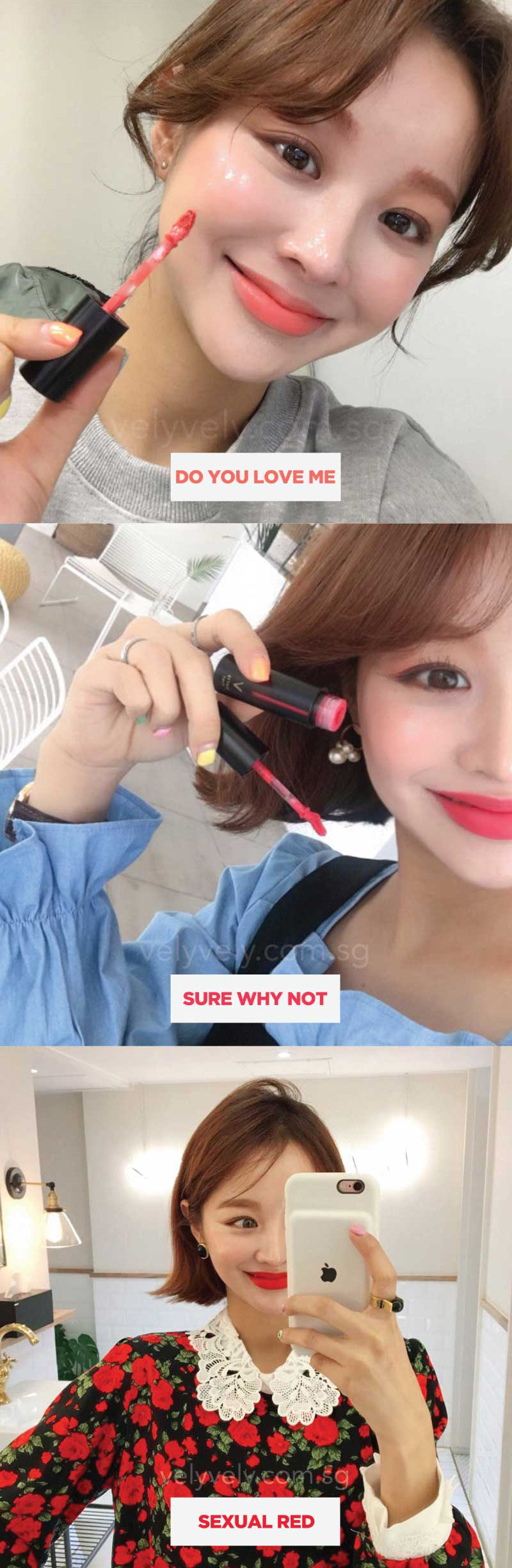 IM JIHYUN trying off the various colours on here lips! Have you tried out a Matte Tint? Which colours do you think suits you the best?